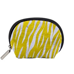 Skin3 White Marble & Yellow Leather Accessory Pouches (small)  by trendistuff