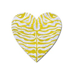 Skin2 White Marble & Yellow Leather (r) Heart Magnet by trendistuff