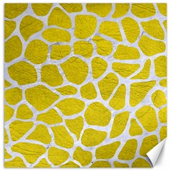 Skin1 White Marble & Yellow Leather (r) Canvas 12  X 12   by trendistuff