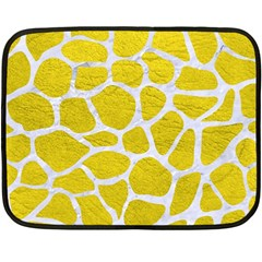 Skin1 White Marble & Yellow Leather (r) Double Sided Fleece Blanket (mini)  by trendistuff