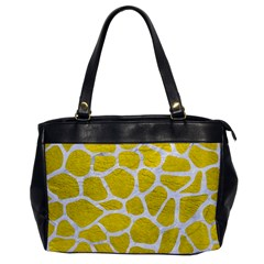 Skin1 White Marble & Yellow Leather (r) Office Handbags by trendistuff