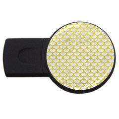 Scales3 White Marble & Yellow Leather (r) Usb Flash Drive Round (2 Gb) by trendistuff