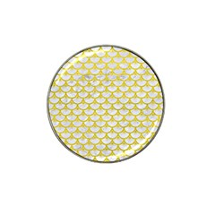 Scales3 White Marble & Yellow Leather (r) Hat Clip Ball Marker (4 Pack) by trendistuff