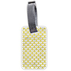 Scales3 White Marble & Yellow Leather (r) Luggage Tags (two Sides) by trendistuff