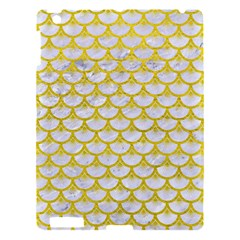 Scales3 White Marble & Yellow Leather (r) Apple Ipad 3/4 Hardshell Case by trendistuff