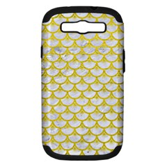 Scales3 White Marble & Yellow Leather (r) Samsung Galaxy S Iii Hardshell Case (pc+silicone) by trendistuff