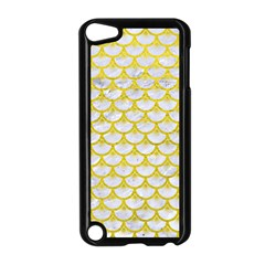 Scales3 White Marble & Yellow Leather (r) Apple Ipod Touch 5 Case (black) by trendistuff