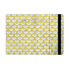 Scales3 White Marble & Yellow Leather (r) Ipad Mini 2 Flip Cases by trendistuff