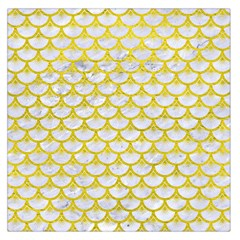 Scales3 White Marble & Yellow Leather (r) Large Satin Scarf (square) by trendistuff