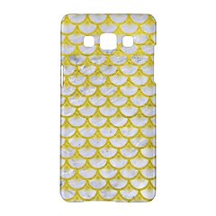 Scales3 White Marble & Yellow Leather (r) Samsung Galaxy A5 Hardshell Case  by trendistuff