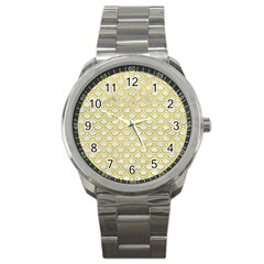 Scales2 White Marble & Yellow Leather (r) Sport Metal Watch by trendistuff