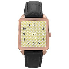 Scales2 White Marble & Yellow Leather (r) Rose Gold Leather Watch  by trendistuff