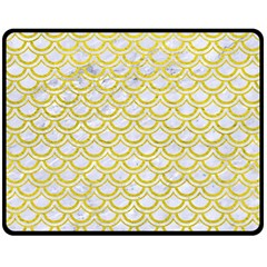 Scales2 White Marble & Yellow Leather (r) Double Sided Fleece Blanket (medium)  by trendistuff