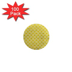 Scales2 White Marble & Yellow Leather 1  Mini Magnets (100 Pack)  by trendistuff