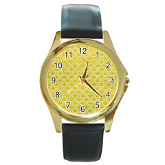 Scales2 White Marble & Yellow Leather Round Gold Metal Watch by trendistuff
