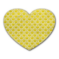 Scales2 White Marble & Yellow Leather Heart Mousepads by trendistuff