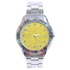Scales2 White Marble & Yellow Leather Stainless Steel Analogue Watch by trendistuff