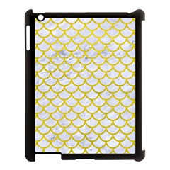 Scales1 White Marble & Yellow Leather (r) Apple Ipad 3/4 Case (black) by trendistuff