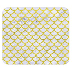 Scales1 White Marble & Yellow Leather (r) Double Sided Flano Blanket (small)  by trendistuff