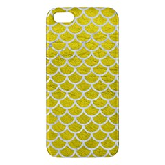 Scales1 White Marble & Yellow Leather Apple Iphone 5 Premium Hardshell Case by trendistuff