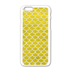 Scales1 White Marble & Yellow Leather Apple Iphone 6/6s White Enamel Case by trendistuff