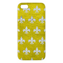 Royal1 White Marble & Yellow Leather (r) Apple Iphone 5 Premium Hardshell Case by trendistuff