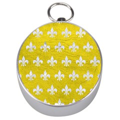Royal1 White Marble & Yellow Leather (r) Silver Compasses by trendistuff