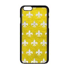 Royal1 White Marble & Yellow Leather (r) Apple Iphone 6/6s Black Enamel Case
