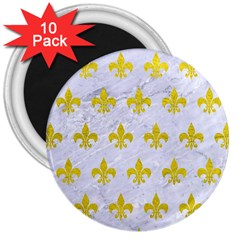 Royal1 White Marble & Yellow Leather 3  Magnets (10 Pack)  by trendistuff