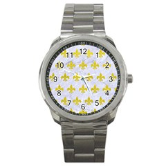 Royal1 White Marble & Yellow Leather Sport Metal Watch by trendistuff