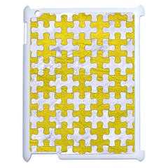 Puzzle1 White Marble & Yellow Leather Apple Ipad 2 Case (white) by trendistuff
