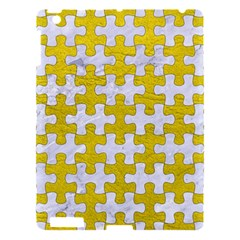 Puzzle1 White Marble & Yellow Leather Apple Ipad 3/4 Hardshell Case by trendistuff
