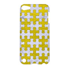 Puzzle1 White Marble & Yellow Leather Apple Ipod Touch 5 Hardshell Case by trendistuff