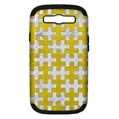 Puzzle1 White Marble & Yellow Leather Samsung Galaxy S Iii Hardshell Case (pc+silicone) by trendistuff