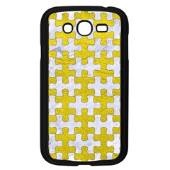 Puzzle1 White Marble & Yellow Leather Samsung Galaxy Grand Duos I9082 Case (black) by trendistuff