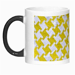 Houndstooth2 White Marble & Yellow Leather Morph Mugs by trendistuff