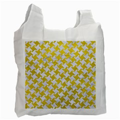 Houndstooth2 White Marble & Yellow Leather Recycle Bag (two Side)