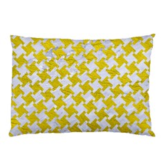 Houndstooth2 White Marble & Yellow Leather Pillow Case (two Sides) by trendistuff