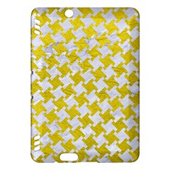 Houndstooth2 White Marble & Yellow Leather Kindle Fire Hdx Hardshell Case by trendistuff