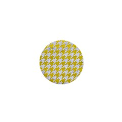 Houndstooth1 White Marble & Yellow Leather 1  Mini Buttons by trendistuff