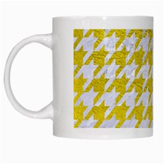 Houndstooth1 White Marble & Yellow Leather White Mugs by trendistuff