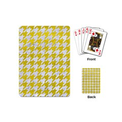 Houndstooth1 White Marble & Yellow Leather Playing Cards (mini)  by trendistuff