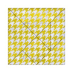 Houndstooth1 White Marble & Yellow Leather Acrylic Tangram Puzzle (6  X 6 ) by trendistuff