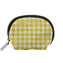 Houndstooth1 White Marble & Yellow Leather Accessory Pouches (small)  by trendistuff