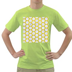 Hexagon2 White Marble & Yellow Leather (r) Green T Shirt by trendistuff