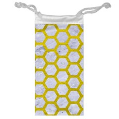 Hexagon2 White Marble & Yellow Leather (r) Jewelry Bag by trendistuff