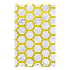 Hexagon2 White Marble & Yellow Leather (r) Shower Curtain 48  X 72  (small)  by trendistuff