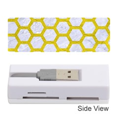 Hexagon2 White Marble & Yellow Leather (r) Memory Card Reader (stick)