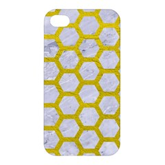 Hexagon2 White Marble & Yellow Leather (r) Apple Iphone 4/4s Hardshell Case by trendistuff