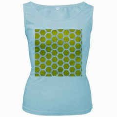 Hexagon2 White Marble & Yellow Leather Women s Baby Blue Tank Top